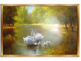 Репродукция в раме (Лебеди, 100х60)
